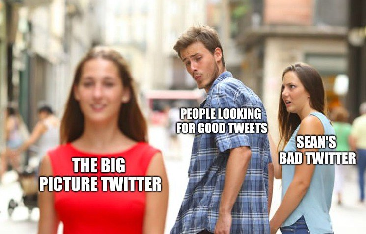 We launched a Twitter feed for The Big Picture podcast: @TheBigPic. Follow for dank memes, bad takes, and links to podcasts. Love 2 tweet.