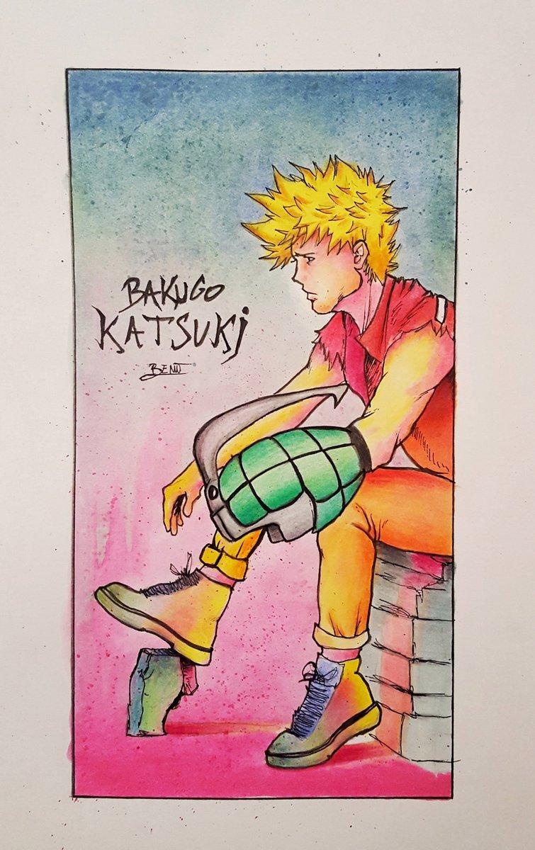 Nouvelle petite illustration de Bakugo Katsuki ! J'ai voulu utilisé des couleurs qui changent de d'habitude pour le représenter, très heureux de vous montrer le résultat final 😜✏  #katsuki #MyHeroAcademia #Heroes #manga #dessin #drawing  #illustration #conceptart