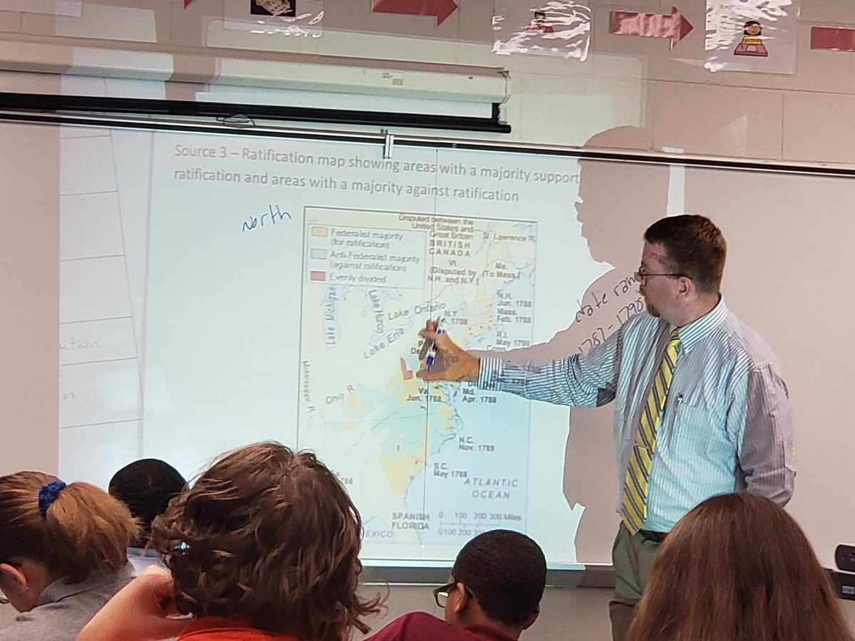 test Twitter Media - Mr. Annis reviews a political map of Federalists versus Anti-Federalists with his 7th grade Civics students. Students are analyzing primary source documents including George Mason's Objection to the Constitution and Hamilton's Federalist Paper #84.  #SOMS #Rigor #TeachingCivics https://t.co/fGWIg7pfak