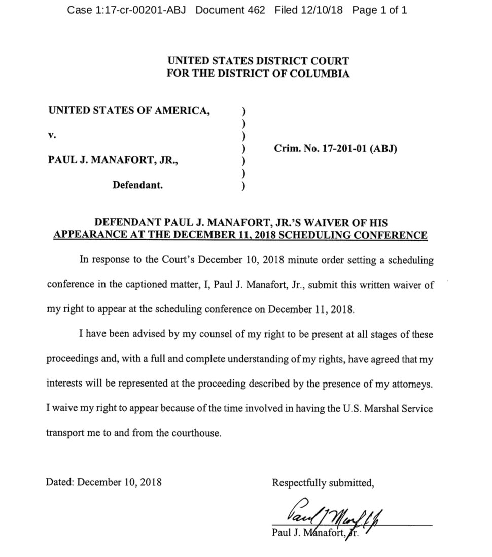 Paul Manafort does not want to come to court tomorrow to answer for his alleged &quot;crimes and lies&quot; in Mueller&#39;s Friday evening filing. He cites the &quot;time involved in having the U.S. Marshal Service transport me to and from the courthouse.&quot; <br>http://pic.twitter.com/2SEbHCYWDv