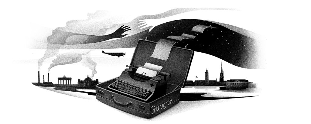 On what would be her 127th birthday, today's #GoogleDoodle pays homage to poet and playwright Nelly Sachs, a Nobel Prize-winner whose poetry speaks powerfully about the Holocaust → http://goo.gl/5mRa72