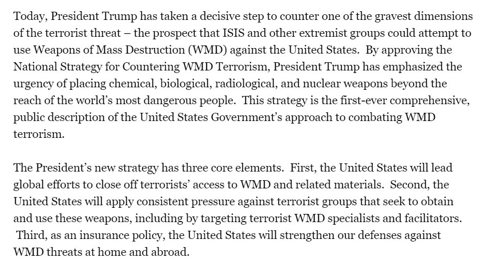 White House announces that Trump has adopted a 'National Strategy for Countering WMD Terrorism.' From this summary, it does not sound markedly different from the approaches taken by Bush (who basically did this post-9/11) and Obama.