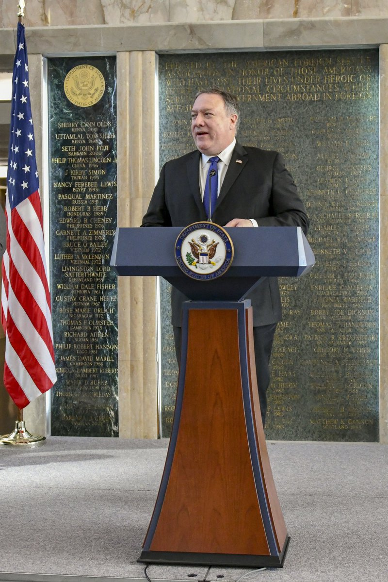 U.S. Secretary of State Michael R. Pompeo delivers remarks Toys for Tots ceremonial presentation event to the Marine Corps Reserve at the U.S. Department of State in Washington, D.C. on December 10, 2018. [State Department photo by Ron Przysucha/ Public Domain]