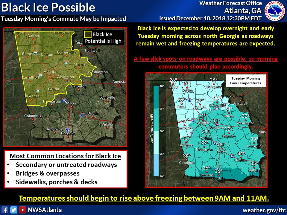 The @CityofAtlanta Govt Offices will have a delayed start of 10AM on Tuesday 12/11 due to a high potential for black ice on the roadways. Non-essential COA employees are to report to their respective facilities at 10AM. Please remain weather aware. #ATLANTA #ATLGetRdy<br>http://pic.twitter.com/X5a5kHpMXM