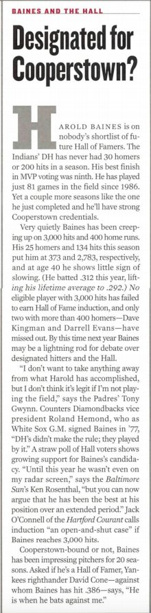 Way back in 1999, while Harold Baines was still playing, I assigned an SI baseball scribe to analyze his #HallofFame chances. After the laughter subsided, the unnamed scribe submitted this, which at least took the question seriously: