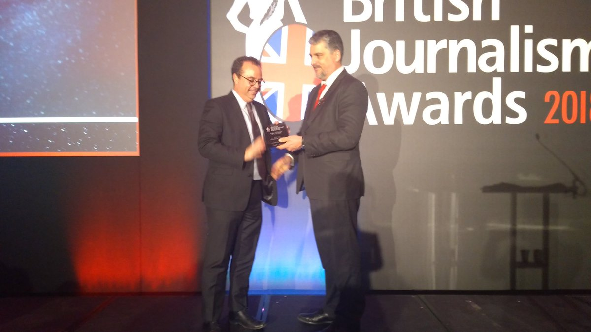 Our final award of the night is News Provider of the Year - which this year is @thefinancialtimes #BJA2018