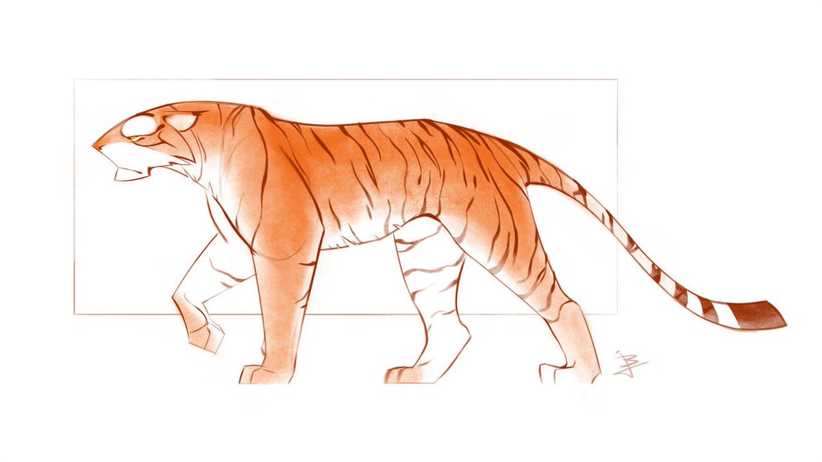 """This stylized feline utilizes sharp angles to help emphasize the intimidating power that the tiger possesses. """"Tiger Concept 2"""" by @BaukjeJagersma: bit.ly/2G2cwgM #Tiger #Concept #DigitalArt"""