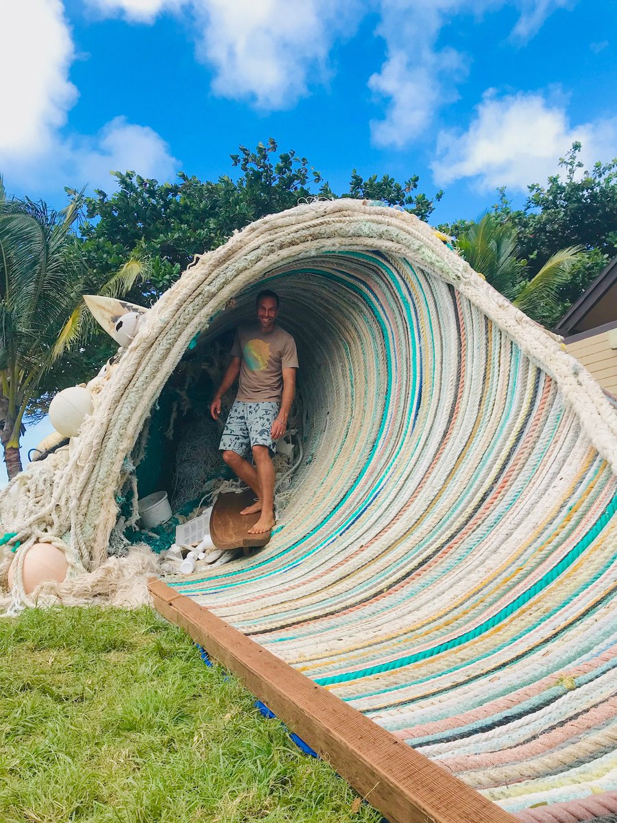 Catch the #PlasticFreeWave with Jack,  #sustainsustainablecoastlineshawaii, @kokua #PlasticFreeHawaii & @wsl to wipe out plastic pollution. Visit the wave sculpture created by artist @EthanEstess at the #BillabongPipeMasters #WSLPURE