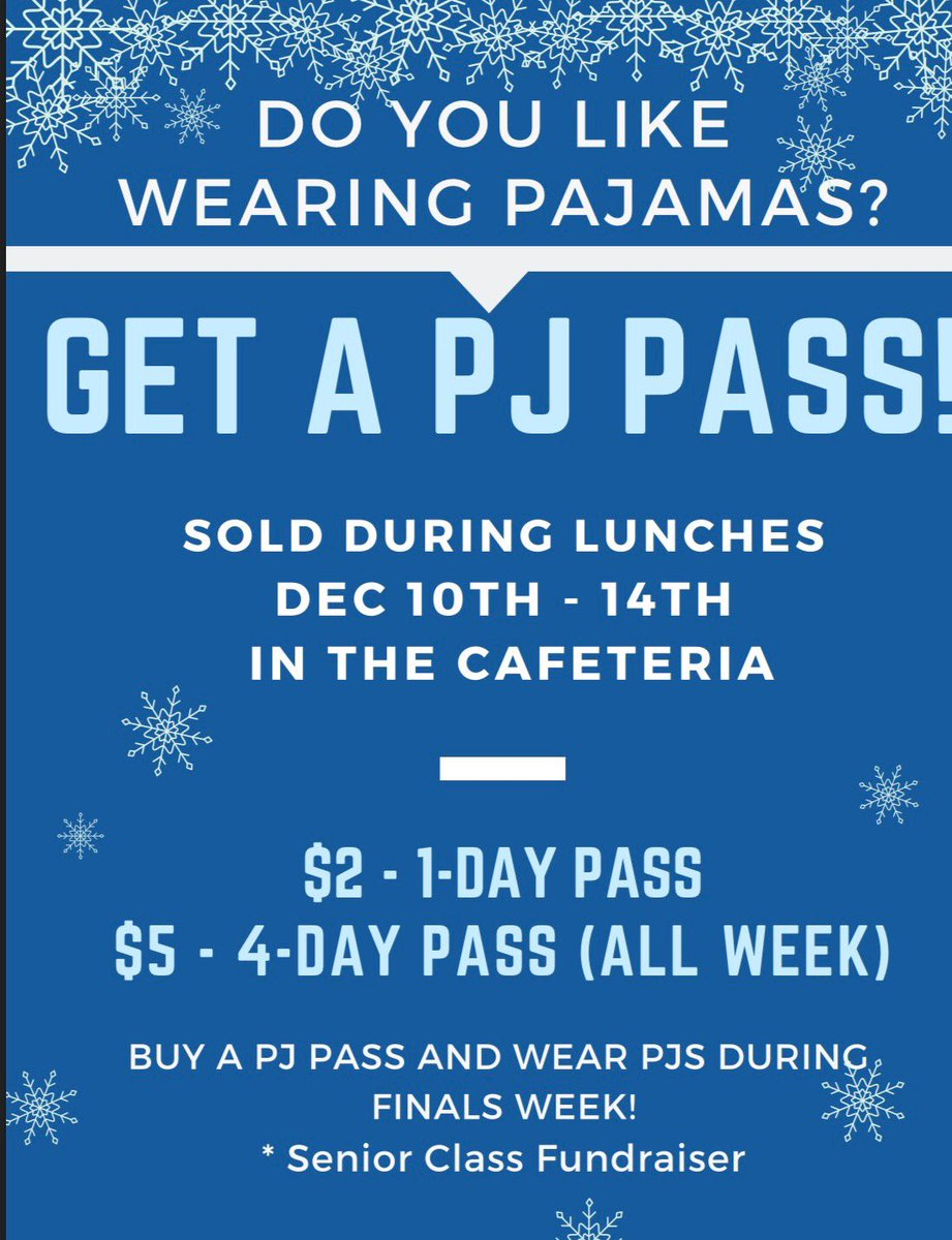 hey guys, we will be selling PJ passes tomorrow. Make sure to grab yours during your lunch!!!