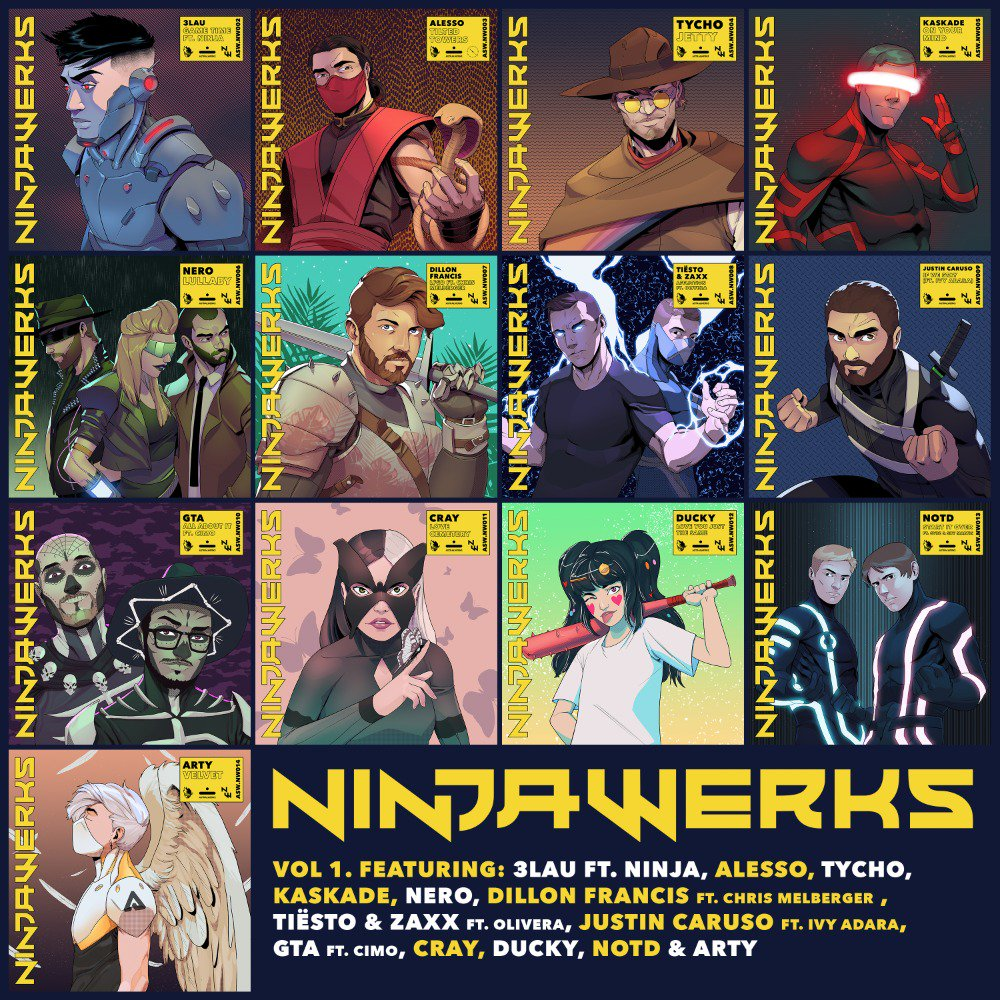 I'm so excited to finally share the final #Ninjawerks tracklist with you! Full album is out Friday, listen to the first 6 tracks here:  https:// ninjawerks.lnk.to/Ninja  &nbsp;  <br>http://pic.twitter.com/7HQpwSQ2nt