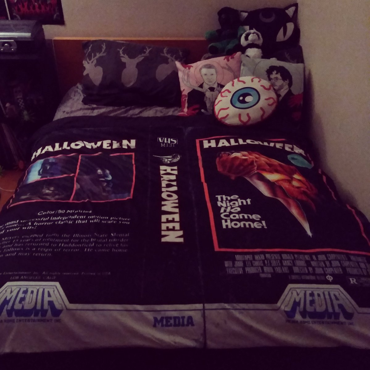 The Night It Came Home  My #Halloween VHS blanket arrived! I will sleep well tonight knowing @jamieleecurtis is watching over me. <br>http://pic.twitter.com/UyGgMxouq9
