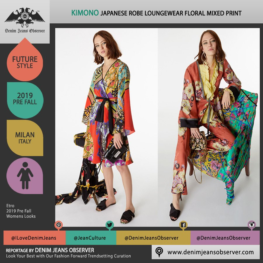 Etro 2019 Pre Fall Autumn Womens Lookbook Presentation - Veronica Etro - Japanese Kimono Robe Coat Loungewear Sleepwear Silk Satin Mixed Mash Up Prints Graphic Flowers Floral Ruffles Purse Clutch Bag - Fashion Forward Trendsetting Curation by Denim Jeans Observer