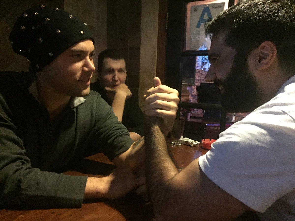 Birthday boy, @RicepirateMick, beat everyone at arm wrestling tonight.