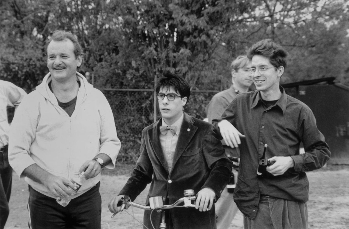 Bill Murray, Jason Schwartzman, and Wes Anderson on the set of RUSHMORE, which opened in theaters 20 years ago today and solidified Anderson as a master stylist and one of our finest storytellers. <br>http://pic.twitter.com/SD1uxPiwa4