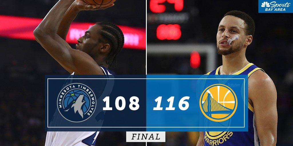 FINAL: @warriors 116, @Timberwolves 108 ⏰ Warriors Postgame Live NOW 📺 NBC Sports Bay Area 🗣️ Greg Papa | Garry St. Jean | @KAzubuike7 📲 #MyTeams App ➡️ bit.ly/2CVu3Vo