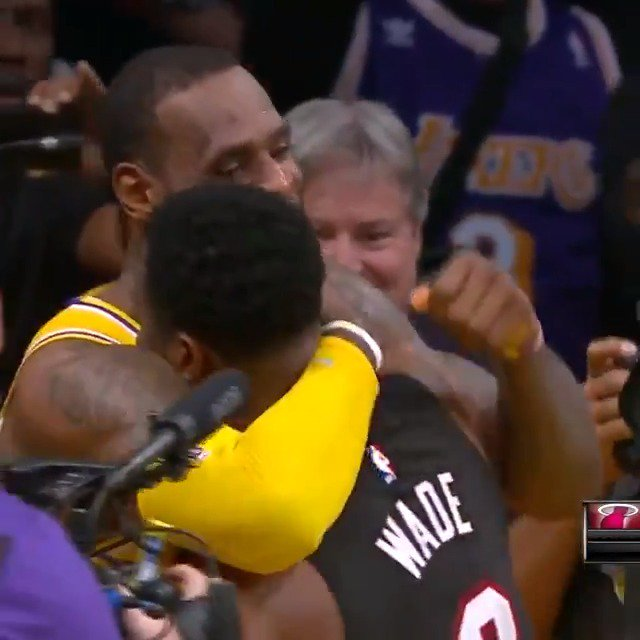 What a finish in LA... LeBron James & Dwyane Wade embrace after the buzzer in their final matchup! #OneLastDance #ThisIsWhyWePlay