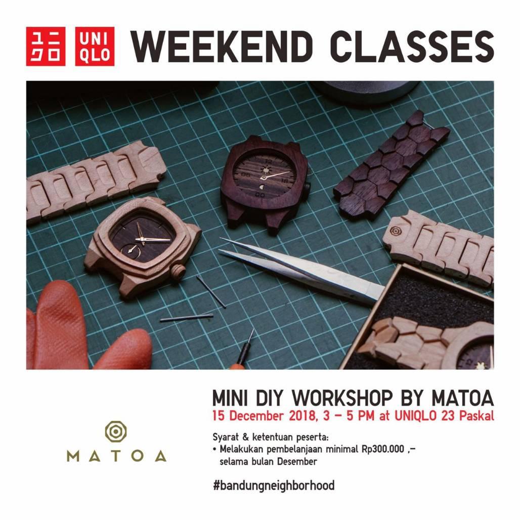 Daftarin diri kamu untuk ikutan Mini DIY Workshop by MATOA dalam UNIQLO Weekend Classes pada hari Sabtu 15 Desember 2018 nanti di UNIQLO 23 Paskal. Syarat pendaftarannya hanya dengan pembelanjaan kelipatan Rp 300.000 di UNIQLO selama bulan desember ini. Yuk daftar, slot terbatas. https://t.co/Jd5qPUemyg