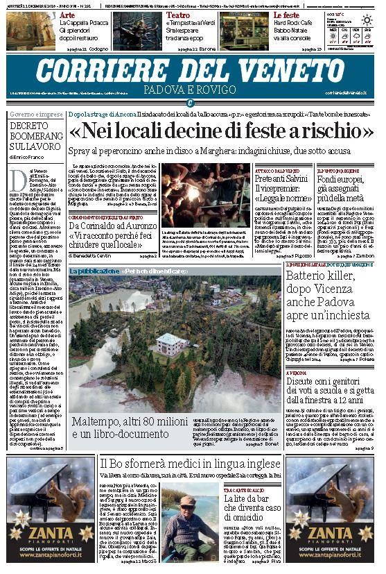 Buongiorno, ecco la prima pagina del @corrierevene...