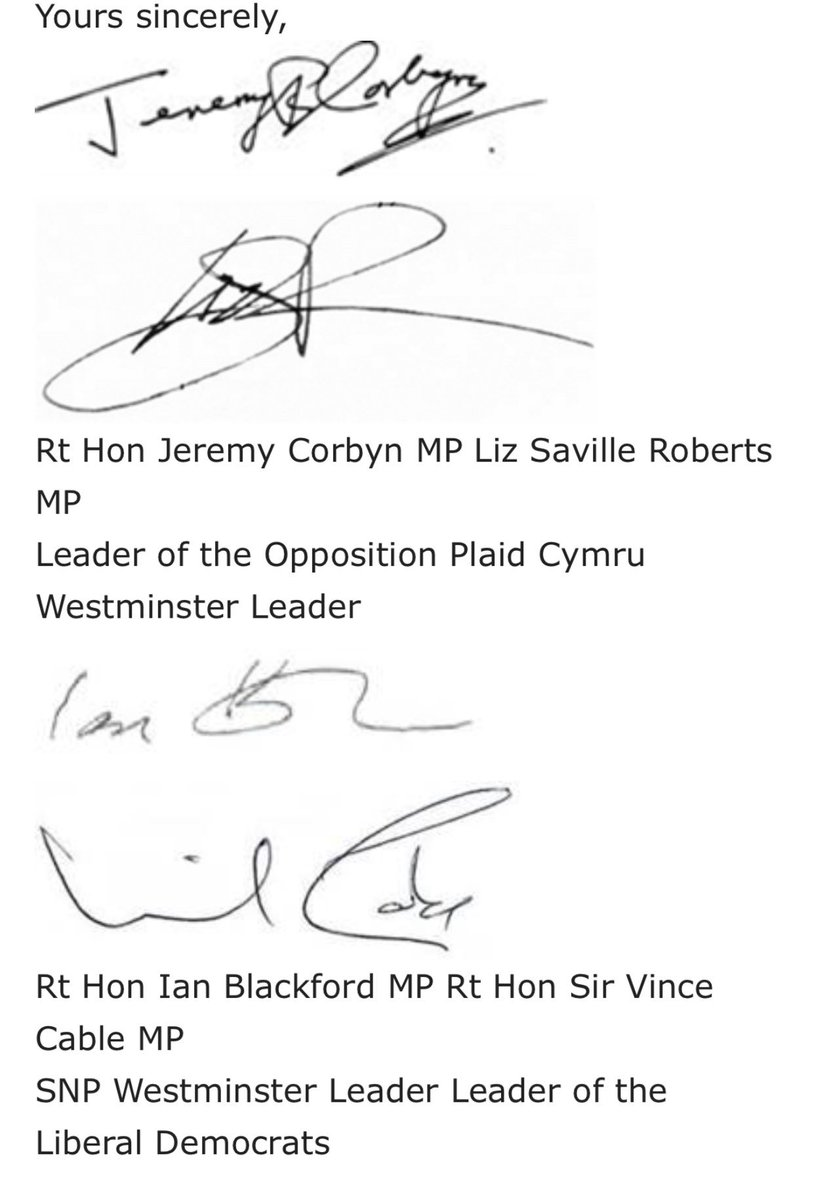 Opposition leaders write to PM accusing her of showing contempt for Parliament over pulling the vote, the debate, and whether section 13 of Withdrawal Act re vote by Jan 21st still applies.  But not DUP, who did sign equivalent last week re legal advice.