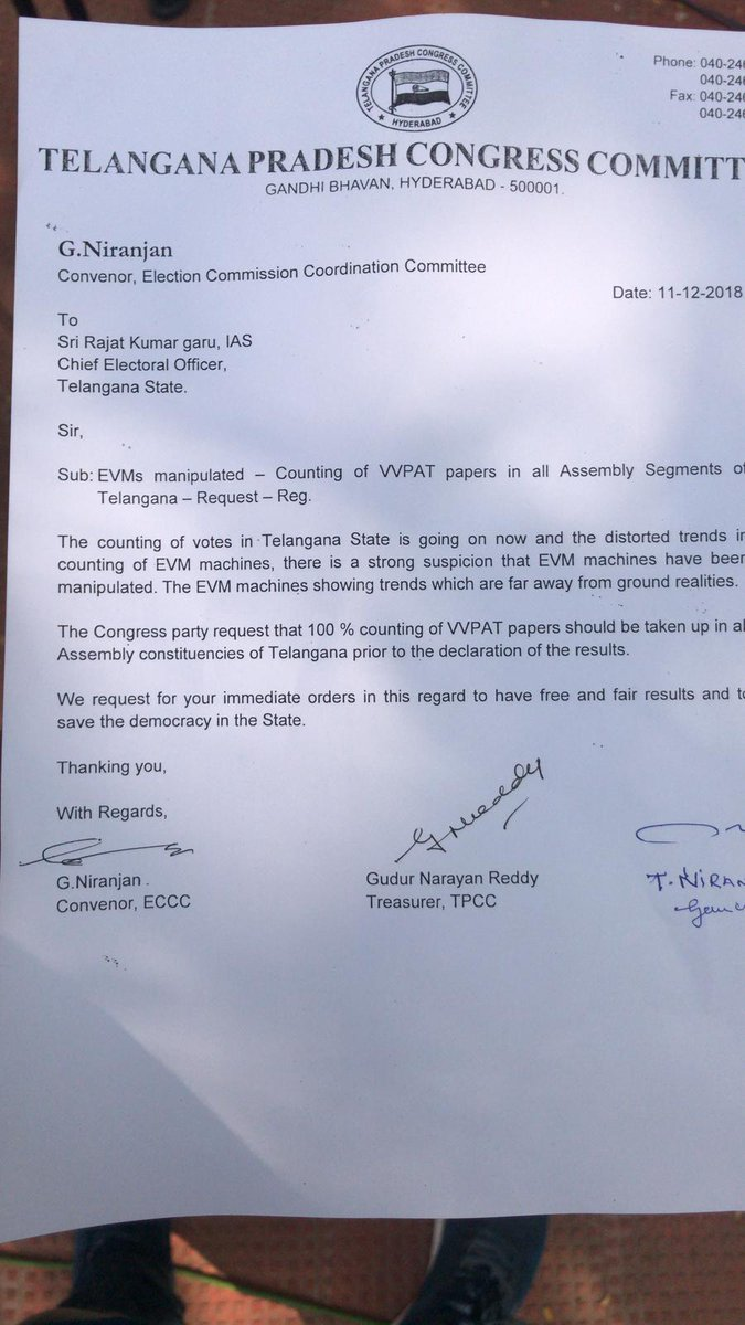 Hyderabad: Congress delegation submits a complaint to Telangana Chief Electoral Officer (CEO) Rajat Kumar raising suspicions that Electronic Voting Machines (EVMs) have been manipulated in the state. #AssemblyElections2018