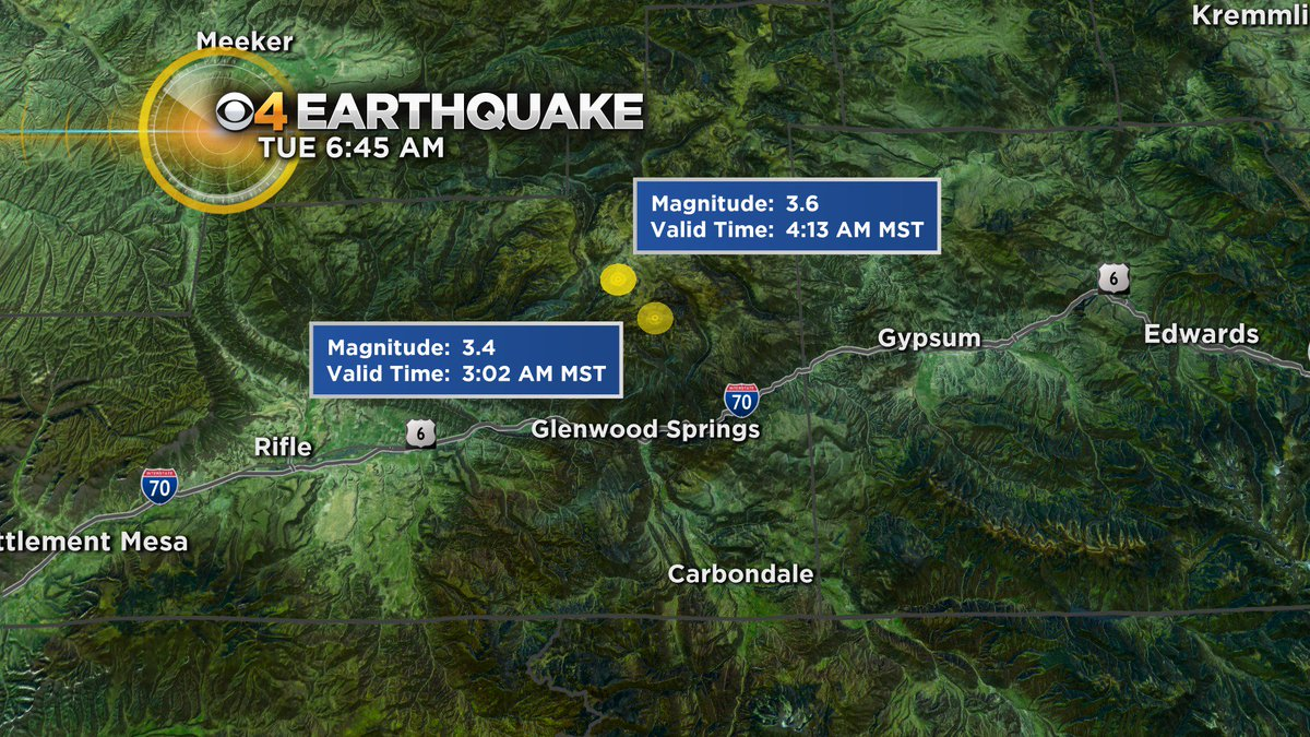 Here are the details on the 2 earthquakes that woke up a lot of people near Glenwood Springs early this morning. No reports of injures or damage. #CBS4Mornings #cowx #4wx #earthquake @BrittMorenoTV @AlanGTV @KOANewsRadio @ChrisCBS4