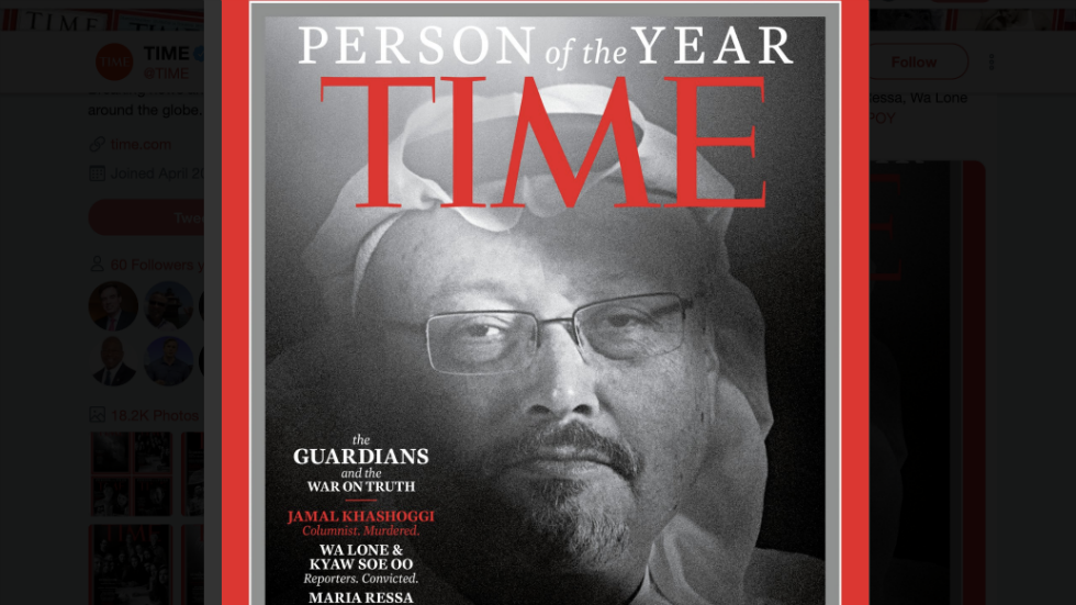 #BREAKING: Time names murdered or imprisoned journalists 2018's Person of the Year https://t.co/UWJLAxiF9q https://t.co/NXJTYQcc1M