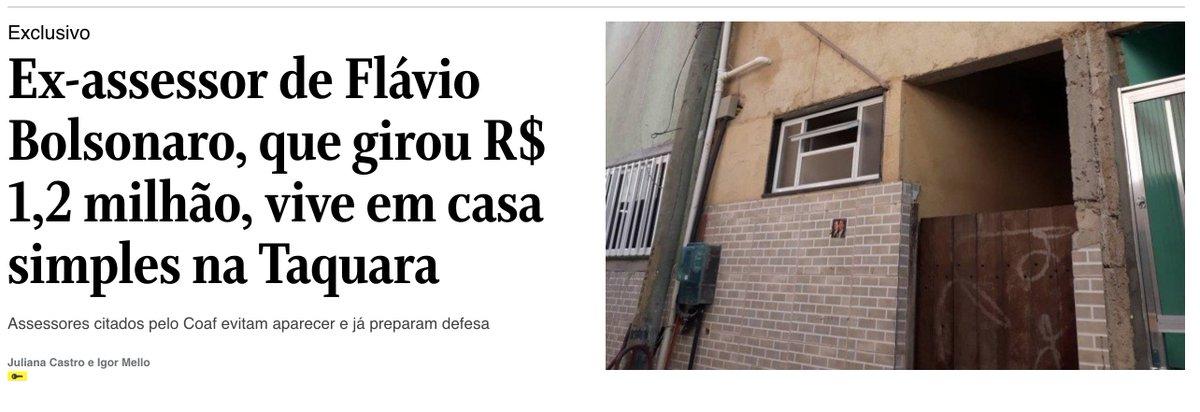 @jeanwyllys_real Aliás, mesmo que a pauta moral seja usada como cortina de fumaça, não dá para apagar onde está o fogo de verdade: O Globo descobriu que o assessor de @FlavioBolsonaro  que movimentou R $ 1,2 milhão mora numa casa simples, um beco no bairro da Taquara, na Zona Oeste do Rio https://t.co/0Yl