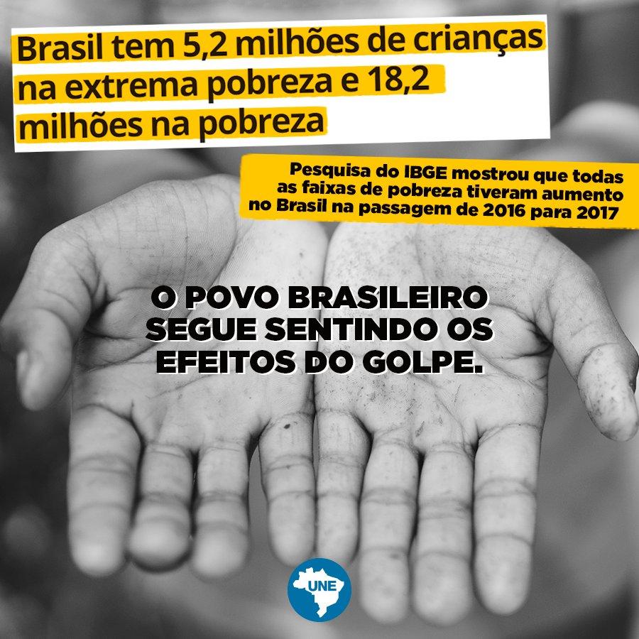 Todas as faixas de pobreza tiveram aumento na passagem de 2016 pra 2017, mais uma prova de que o povo segue pagando a conta do golpe. Absurdo!  Leia: https://t.co/NoXcUbzoyw
