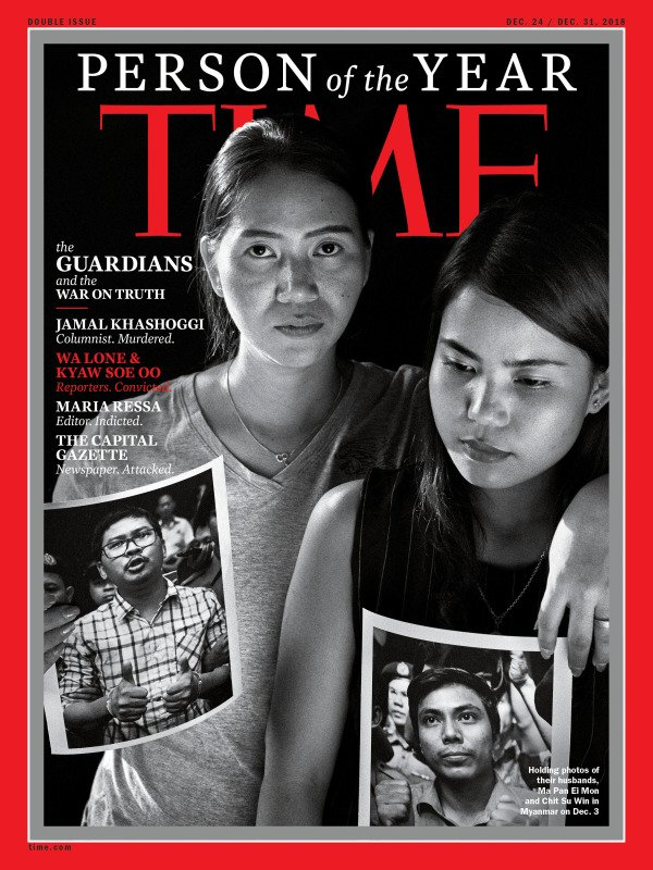 It's thrilling to see Pan Ei Mon and Chit Su Win - the wives of our jailed Reuters colleagues Wa Lone and Kyaw Soe Oo - on the cover of @TIME magazine's Person of the Year issues. Read the story here: https://t.co/NEUJbsok49 #FreeWaLoneKyawSoeOo