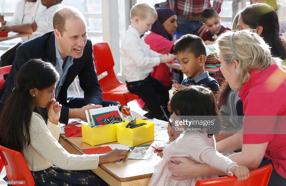 The Duke of Cambridge meets children and families during his visit to @EvelinaLondon today