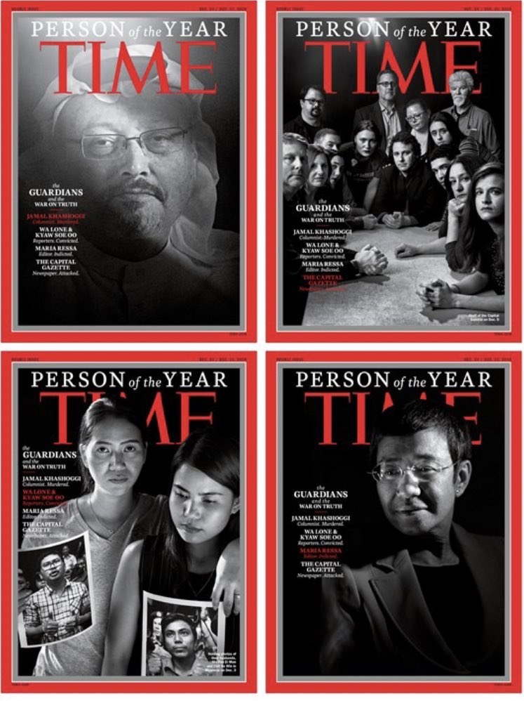 """Thank you @TIME for making """"Guardians of the Truth"""" Person of the Year— including our @washingtonpost colleague and friend Jamal #Khashoggi.   """"Some depart to remain."""" -@JKhashoggi   http://time.com/person-of-the-year-2018-the-guardians/…"""