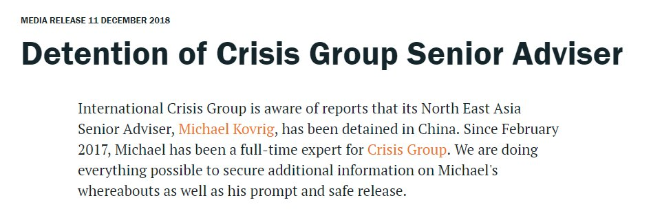 A former Canadian diplomat working for a non-governmental organization dedicated to preventing wars around the world has reportedly been detained in China. Statement from the International Crisis Group on Michael Kovrig's apparent detention here: