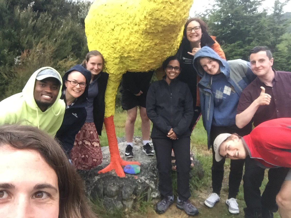 Good times on Day 2 of our GEOL111 summer course field trip exploring the geology of Castle Hill Basin and meeting the famous Bealey Hotel moa...which now seems to resemble a giant rubber chicken..! @UCNZscience @UCNZ