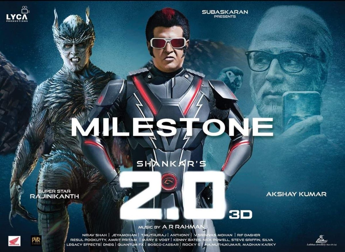 #2Point0 collects $33,921 on Monday (10 December) in USA. Total gross is $5,056,443. Going strong! 👍🇺🇸