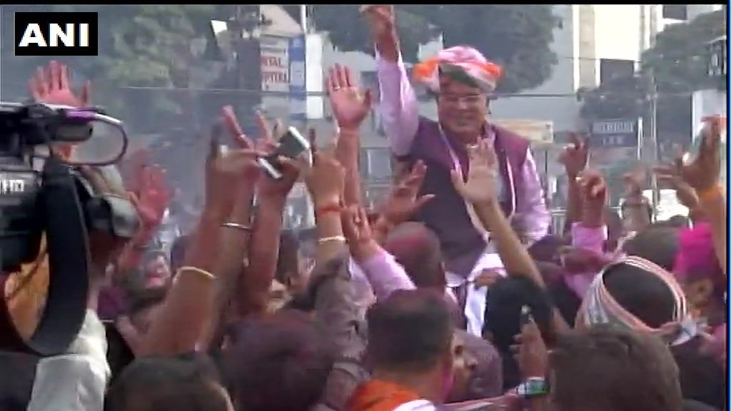 Chhattisgarh Congress President Bhupesh Baghel and workers celebrate in Raipur. #AssemblyElectionResults2018