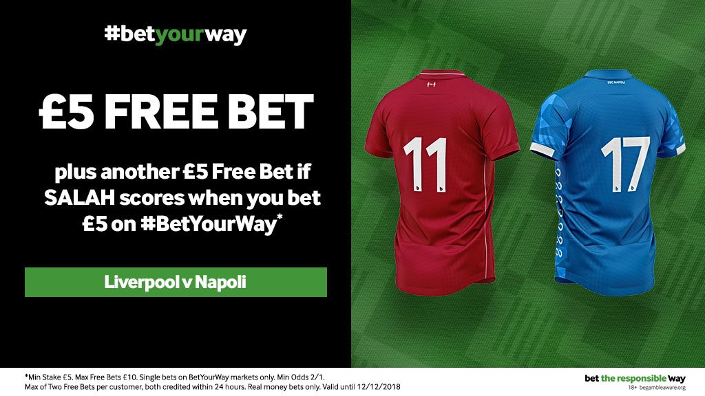 Get a £5 free bet - plus another one on top if Mo Salah scores - when you stake £5 on any #BetYourWay market 2/1 or over for #LIVNAP tonight!