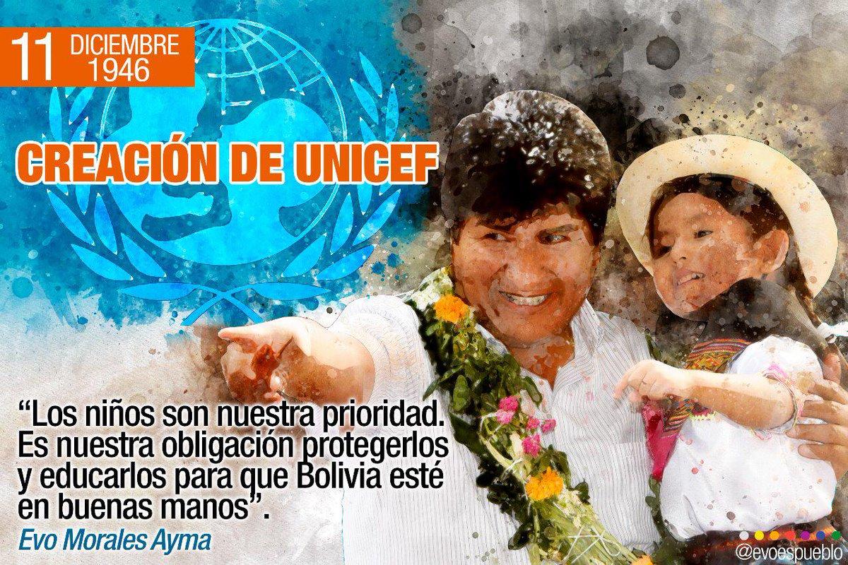 Evo Morales Ayma در توییتر Como Hoy 1946 Se Fundó At Unicef