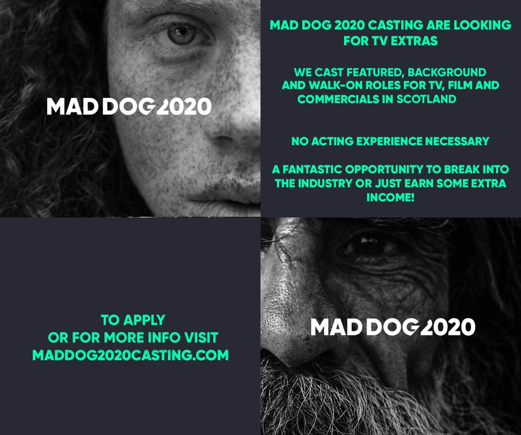 Fancy your chances as an extra? Could be the start of a new interest, a new career, or provide the scope for a short story... Maddog 2020 Casting Extras Casting for Film, TV & Commercials Mon 17th Dec & Tue 18th December 11am - 5pm via @ScottJKyle1 maddog2020casting.com/en/