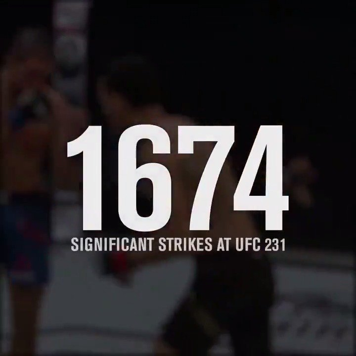 New Record‼️  #UFC231 set a new single-event record with 1,674 significant strikes landed! https://t.co/mgX83I7qDf