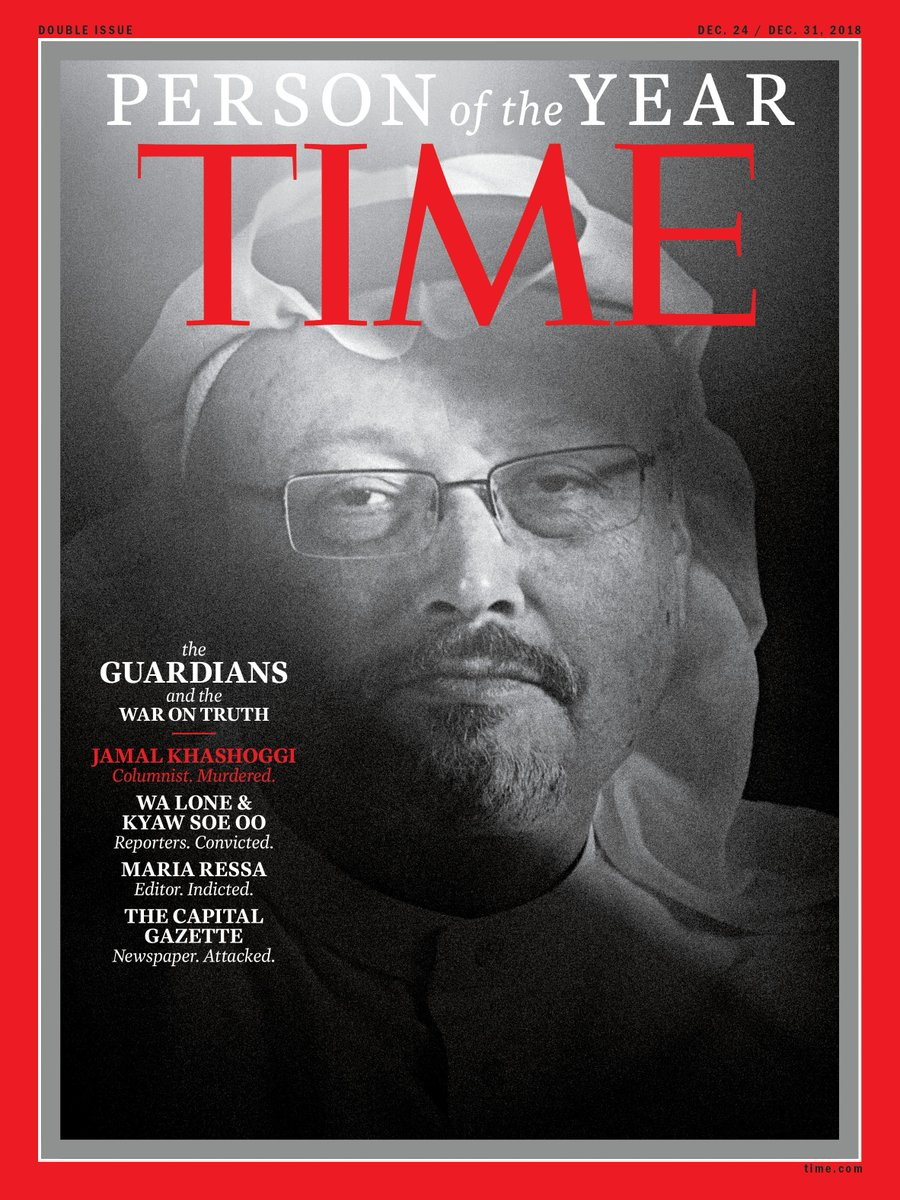 The Guardians—Jamal Khashoggi, the Capital Gazette, Maria Ressa, Wa Lone and Kyaw Soe Oo—are TIME's Person of the Year 2018 #TIMEPOY http://bit.ly/2EmStYV