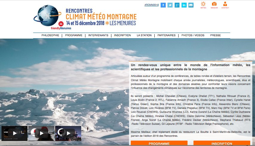 J-3 pour les Rencontres #Climat #Météo #Montagne @LesMenuires . Ils seront là : Evelyne Dheliat, Nathalie Rihouet @Iouisbodin @Fabiboune @elocallac @CyrielleHariel @SophieBRIA @alexandrablanc3 @LoicRousval @Dana_Prepy @Marc_Hay75 @LCMKarine etc #RCMM2018 rencontres-meteo-montagne.com
