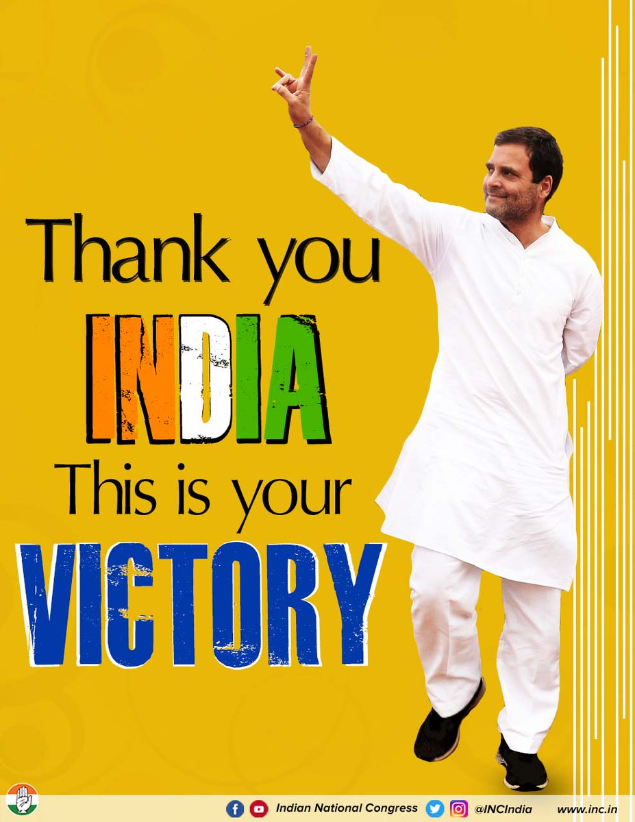 Democracy has won!  Thank you India, you have chosen love over hate, peace over violence & truth over lies.   This victory is yours.   #CongressWinsBIG