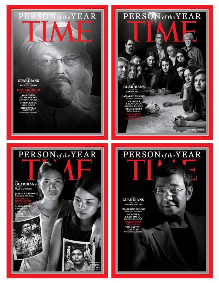 'War on Truth' theme for @TIME this year -- one of the four journalist covers shows Jamal Khashoggi -- the first time a Person of the Year has been a deceased person