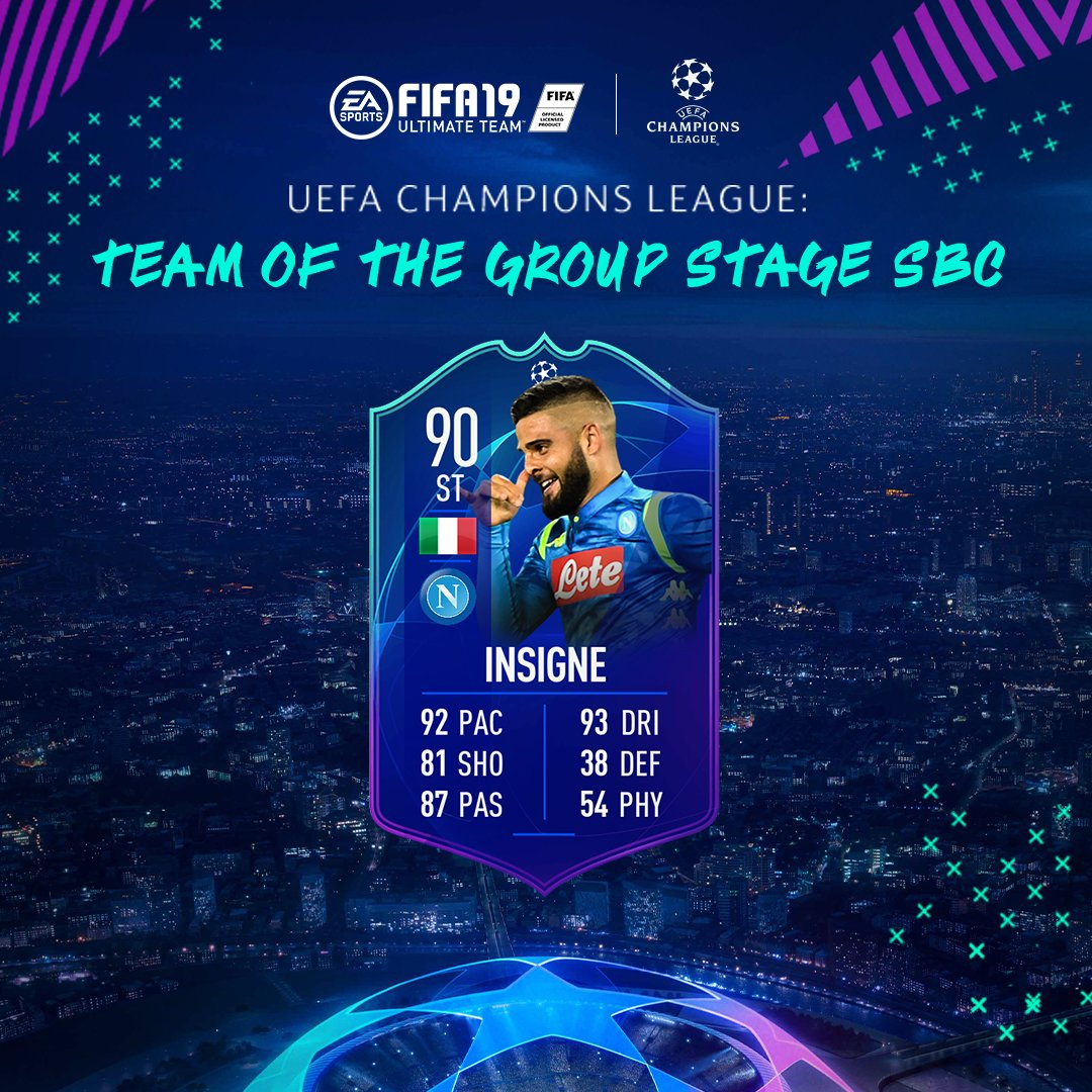 RT @EASPORTSFIFA: #UCL Team Of The Group Stage Lorenzo Insigne available now via SBC #FUT #FIFA19 https://t.co/VAXQaemN8r