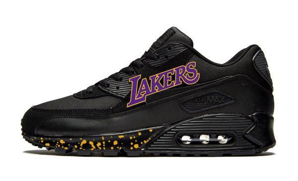 Copy of Los Angeles Lakers Print Nike AM90 Sneakers, Unisex, Black, #Lakers Purple #fridayfeeling  $299.99 ➤ https://goo.gl/p56tUZ