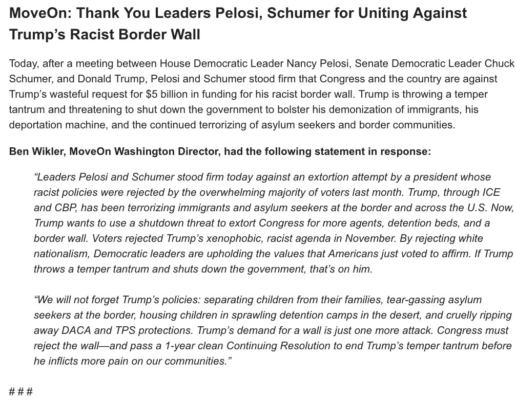 MoveOns @benwikler: Thank you @SenSchumer & @NancyPelosi for uniting against Trumps racist border wall. More:
