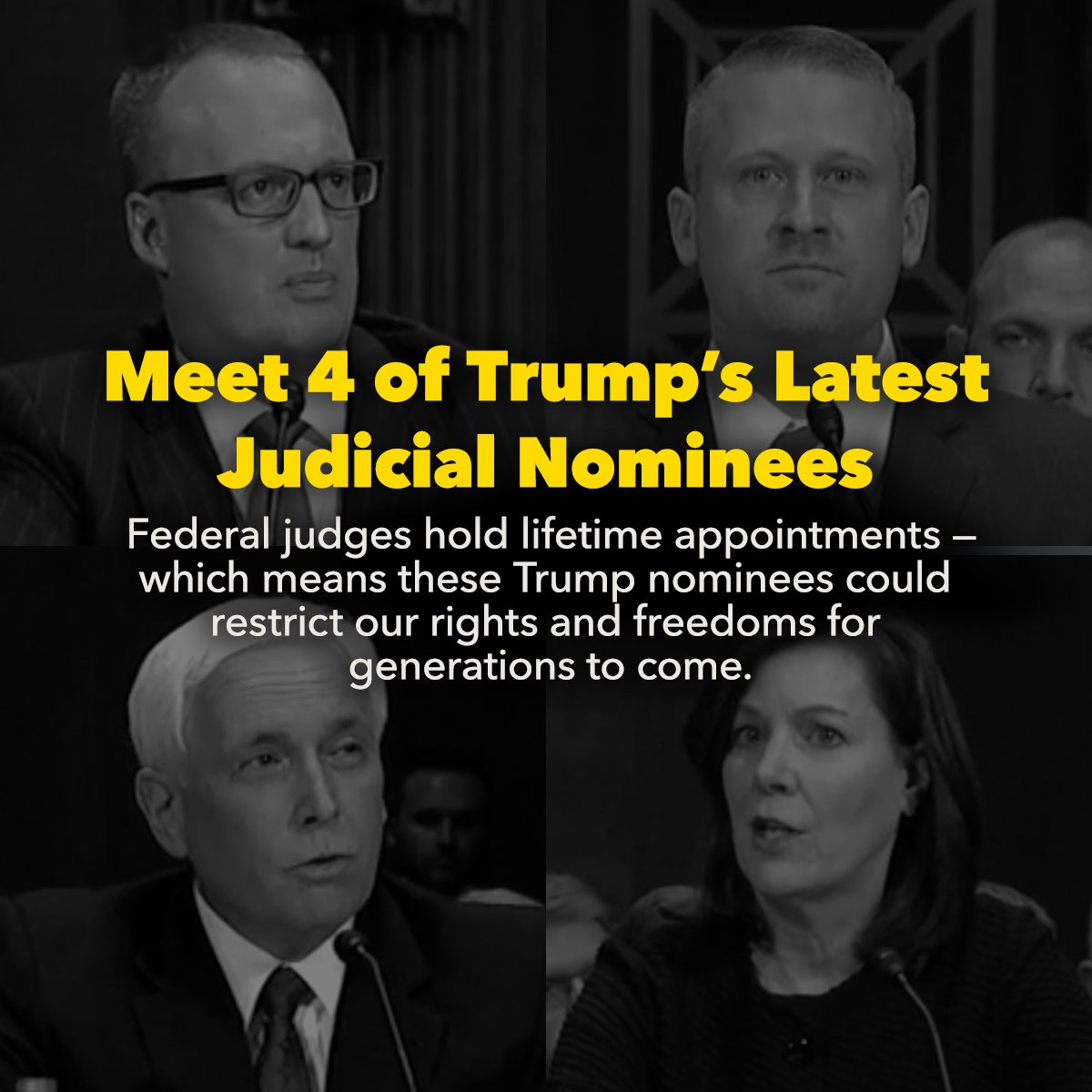 Trump is packing the judiciary with extreme and unqualified judges and courting disaster in the process. Jonathan Kobes could be confirmed next.   What you need to know: https://t.co/jjMmwXw43n #ProtectOurCourts #StopKobes