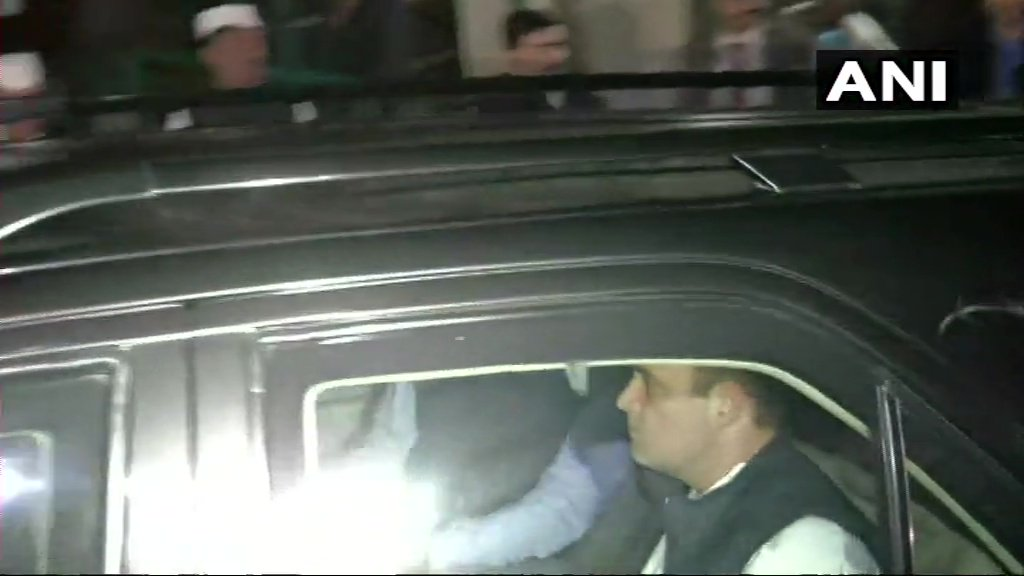 Congress President Rahul Gandhi arrives at the party headquarters in Delhi. #AssemblyElectionResults2018