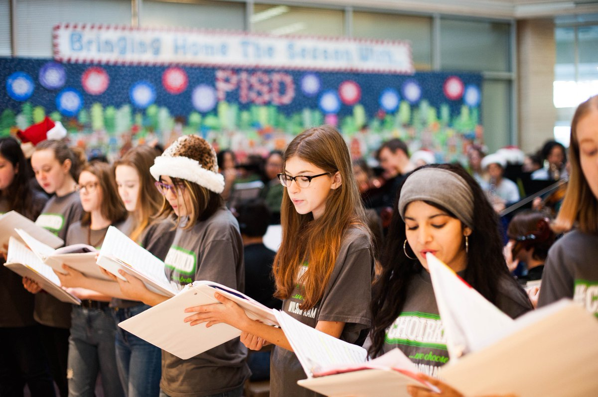 The Wilson Middle School choir and band filled the Plano ISD