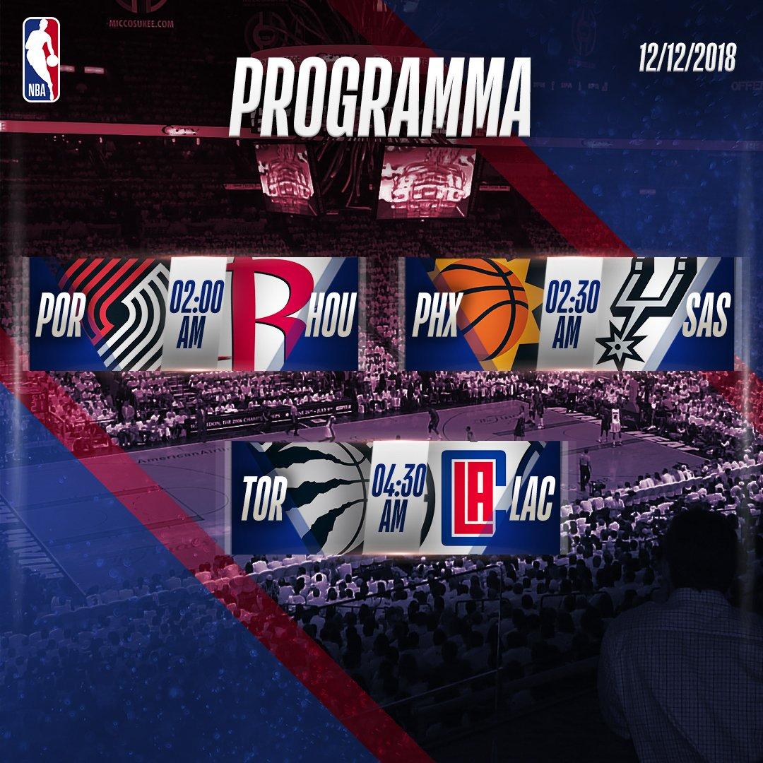 📋 Il programma delle tre partite della notte #NBA!  Alle 2:30, su @SkySportNBA, gli @spurs di @marcobelinelli ospitano i @Suns! 📺 • #TimeToRise @ #GoSpursGo